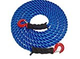 Tow Rope Heavy Duty Polypropylene with Hooks, 12,500 LBS Breaking Strength for Mid Size Pickups and Cars, Made in the USA (30 Feet)