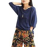 YOUMU Women V Neck Cotton Linen Shirt Half Sleeve Loose Blouse Top