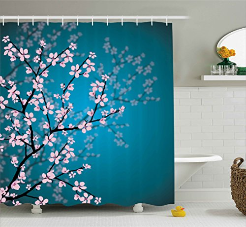 Ambesonne Teal Shower Curtain Pink Blossoms Decor by, Leaves and Plants Ombre Spring Japanese Sakura Flowers in Garden Park, Fabric Bathroom Decorations, with Hooks, Petrol Blue - Curtain Blossom Cherry Shower