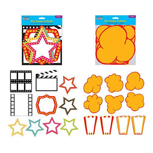 Dry Erase Movie Cutouts - 10 Pack (FLOMO) Movie Night Party Supplies,Hollywood Theme Party Decorations, Hollywood, Party Items, Popcorn Cutouts