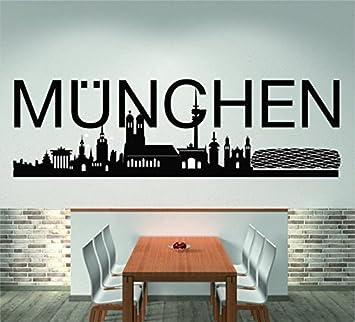 Skyline München 120 Cm Breite Schwarz Wandtattoo Wandaufkleber