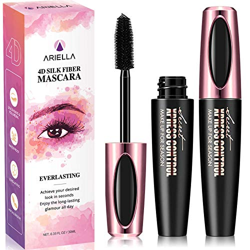 Ariella 4D Silk Fiber Lash Mascara Waterproof, Luxuriously Longer 4D Mascara, Waterproof Mascara, Adds Length, Depth and Glamour Effortlessly - Waterproof, Long-Lasting, Just Like Falsies! Black