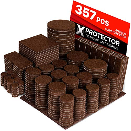 X-PROTECTOR 357 pcs Premium HUGE PACK Felt Furniture Pads! HUGE QUANTITY of Felt Pads For Furniture Feet with MANY BIG SIZES - Your IDEAL Wood Floor Protectors. Protect Your Hardwood & Laminate Floor!