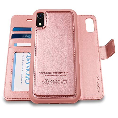 AMOVO Case for iPhone XR [2 in 1] iPhone XR Wallet Case [Detachable Folio] [Vegan Leather] [Card Slot] [Kickstand] iPhone XR (6.1'') Flip Case Cover with Gift Box Package (iPhone XR (6.1) Rosego
