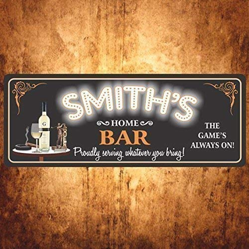 (Personalized Home Bar Sign with Golf Trophy & Your Custom Name - Sports Bar Decor, Wine Bar Sign - Fun Sign Factory Original Design)