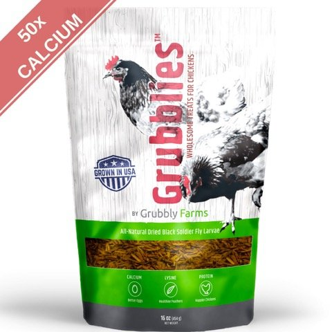 51vIdY35RuL - Grubblies - 1 lb. 50x More Calcium than Mealworms, USA-Grown Non-GMO Grubs - a Daily Nutritious Snack to Treat Your Chickens - 100% Natural and Oven-dried for Happy, Healthy Hens