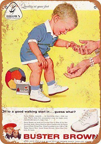 Wall-Color 9 x 12 METAL SIGN - 1959 Buster Brown Baby Shoes