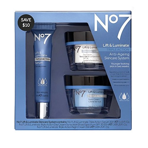 No7 Lift & Luminate Skincare Kit - 3 piece kit from Boots No 7 - Serum, Day Cream, Night - Warehouse Skin