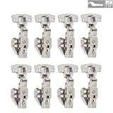LOOTICH 110 Degree Kitchen Cabinet Cupboard Wardrobe Door Hinges with Integrated Soft Closing Mechanism Half Overlay Hydraulic Hinge Cushioning Buffering Pack of 8