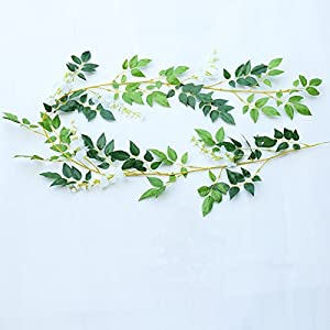 Meiliy Artificial Silk Wisteria Ivy Vine Green Leaf Haing Vine Garland for Wedding Party Home Garden Wall Decoration 47