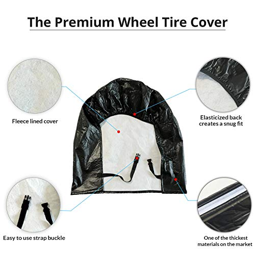 HJO-Products-Set-of-4-Wheel-Tire-Covers-Black-Vinyl-Waterproof-UV-Protective-RV-Trailer-Camper-Truck-Tire-Protectors-Fits-27-to-29-Diameter--Premium-Heavy-Duty-Protection-for-Your-Tires