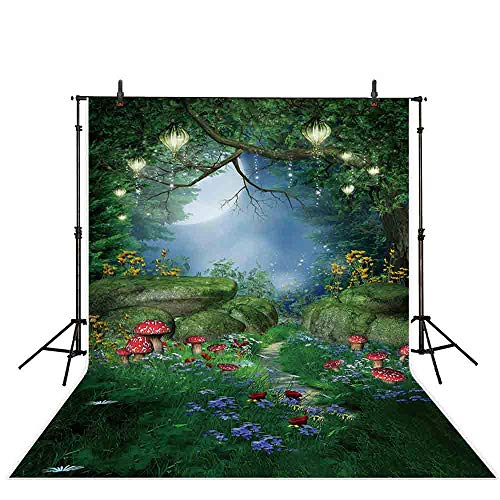 Allenjoy 5x7ft Easter Gloomy Jungle Backdrop Enchanted Forest Mushrooms and Fairy Light Moon Baby Shower Children Kid's Birthday Background for Photo Studio ()