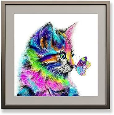 Offito Diamond Painting Kits for Adults Kids, Round Crystal Diamond Art Kits, DIY 5D Diamond Painting by way of Numbers for Gift Home Wall Decor Butterfly and Cat (12x12 inch Frame NOT Included)