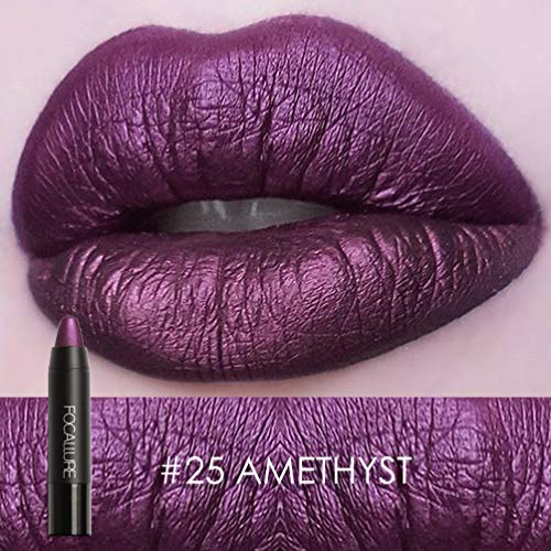 Focallure Lipstick Metallic Sparkly Lipgloss Womens Makeup Stay On Glossier Glitter Lip Gloss Long Lasting Colorstay Solid Waterproof Lip Stick