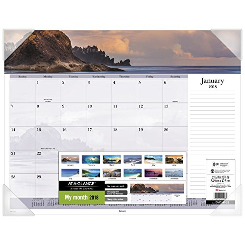 "AT-A-GLANCE Monthly Desk Pad Calendar, January 2018 - December 2018, 22"" x 17"", Images of the Sea Panoramic (DMD14132)"