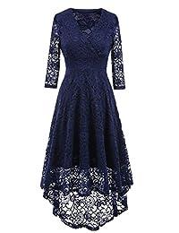NALATI Women 1950 Vintage Deep V Neck High-low Hem Lace Cocktail Party Dress