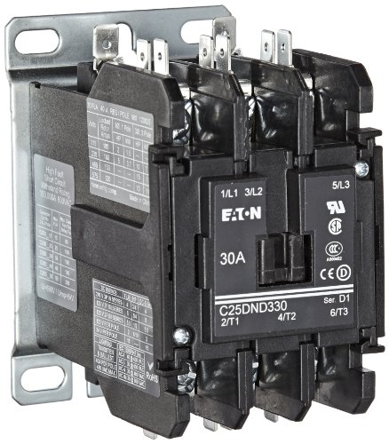 (Eaton C25DND330A Definite Purpose Contactor, 50mm, 3 Poles, Screw/Pressure Plate, Quick Connect Side By Side Terminals, 30A Current Rating, 2 Max HP Single Phase at 115V, 10 Max HP Three Phase at 230V, 15 Max HP Three Phase at 480V, 120VAC Coil Voltage)