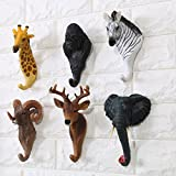 Bueer 6 Pack Resin and Iron Rustic Vintage Wall Hook Wall Rack with Hook (Animals)