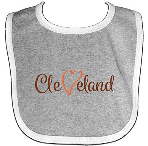 Inktastic - Cleveland Heart Cursive Orange Baby Bib Heather/White - Newborn Cleveland Browns Bib
