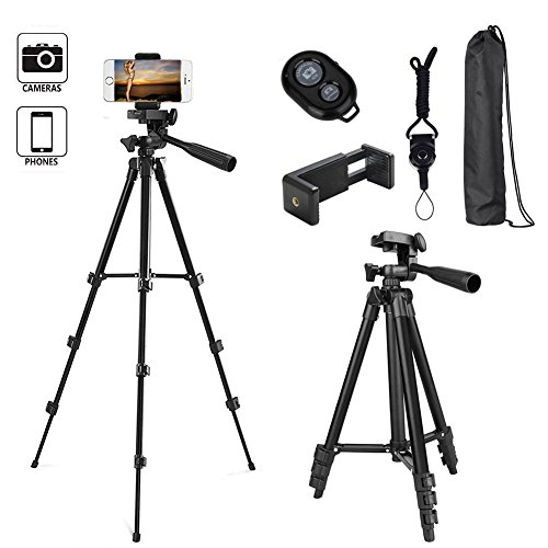DAISEN Phone Tripod, 42 inch Cell Phone Tripod for iphone And Smart Phone, Camera Holder With Remote Control (Black)