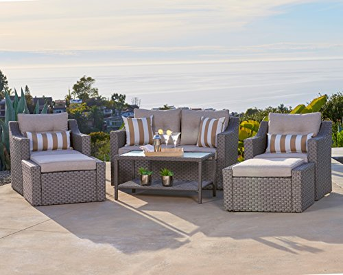 Solaura Outdoor 6-Piece Lounge Chairs with Ottoman & Loveseat All Weather Gary Wicker with Neutral Beige Water-Resistant Cushions & Sophisticated Glass Coffee Table | Patio, Backyard, Pool