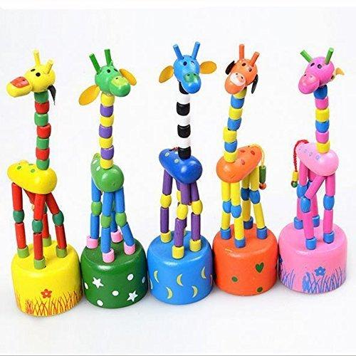 [Children Safety]Wooden Giraffe Push Puppets,Swing Body Giraffe Desktop Toys Cartoon Fingers Toys Home Kids Room TV Cabinet Decoration 5Pack Cabinet Body