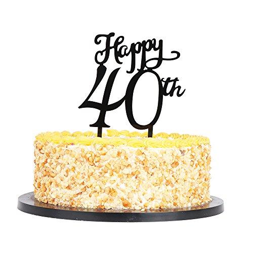QIYNAO Black Plastic Happy Cake Topper - Birthday,Anniversary Party Acrylic cake Decoration Supplies (40th)