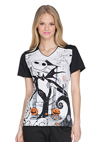 Cherokee Tooniforms Women's Nightmare Before Christmas Halloween Scrub Top (Medium) ()