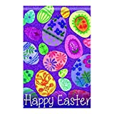 LDJ Colorful Easter eggs happy Easterday Double Sided Decorative Flags 100% Polyester And Waterproof,Fade,And Mildew Resistant, Custom Garden Flags 28X40 Inch Banner Home Flags Print Flags