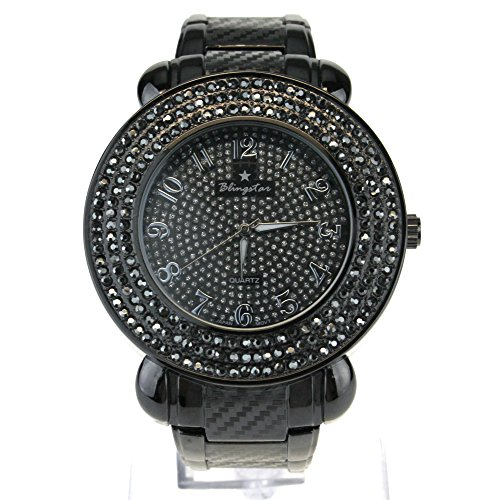 (Mens Rhinestone Iced Out Gunmetal Analog Round Metal Wrist Watch )