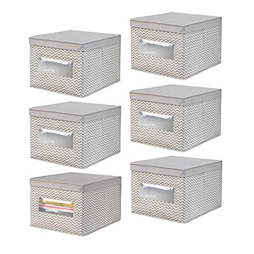 mDesign Soft Fabric Stackable Closet Storage Organizer Box with Clear Window and Attached Hinged Lid for Bedroom, Hallway, Entryway, Closets - Chevron Zig-Zag Print, Large, 6 Pack - Taupe/Natural