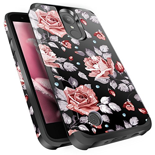 LG Aristo Case, Risio 2 Case, Phoenix 3 Case, Fortune/Rebel 2 LTE/K8 2017 Case, Miss Arts Slim Anti-Scratch Dual layer Hybrid Sturdy Armor Protective Cover Case for LG LV3 -Rose Gold Flower / Black (Phoenix Flower)