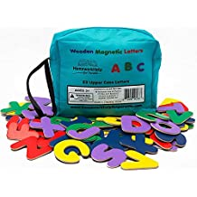 Classic 52 Wooden, Magnetic Letters - 2 Upper Case Alphabets - Great For Preschool Reading, Writing & Spelling - Play ABC Phonics Games With This Brightly - Colored Early Learning, Educational Toy!
