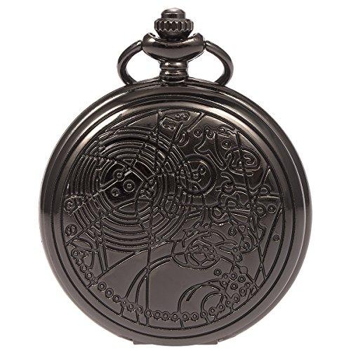 SIBOSUN Pocket Watch Doctor Who Confession Dial Pattern Dr. Who Men Antique Black Case Quartz Chain