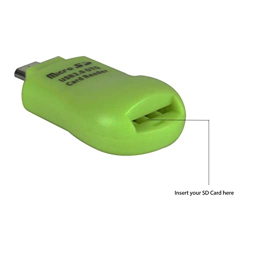 Heartly Micro USB 2.0 OTG Micro SD TF Card Reader Adapter for Android Phone   Light Green