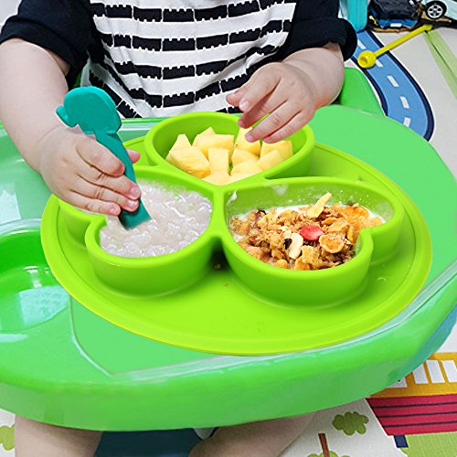Cartoon Silicone Non Slip Mats for for Toddlers Children Kids Infants Baby Silicone Placemat Baby Plate/&Toddler Bowls in One