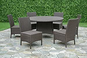 Creative Living 10093537 Bali 7 Piece Dining Set w/Armless Chairs, Buckeye