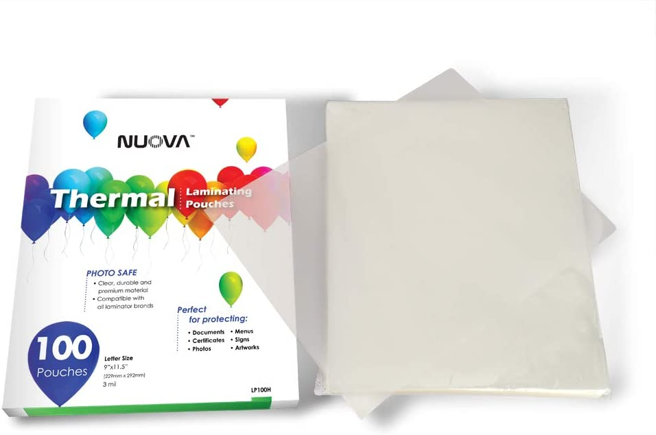 9 x 11.5//Letter Size//3 mil PAPRMA Premium Thermal Laminating Pouches 100 Pack