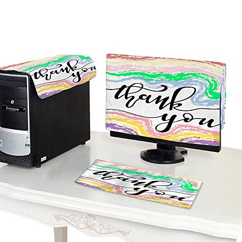 Miki Da dust Cover for Computer 22''MonitorSet Hand Sketched Thank You Text as Logotype Badge and icon Thank You Postcard Invitation Poster Banner ()