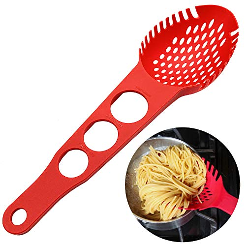 Nylon Spaghetti Server Non-Stick Pasta Fork Slotted Spoon Food Strainer with Spaghetti Measure Tool Strainer Ladle for Kitchen Dishwasher, Red ()