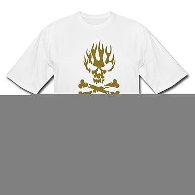 Amazon.com: BOSO Mens Fireskull Sign White T-Shirts XL ...