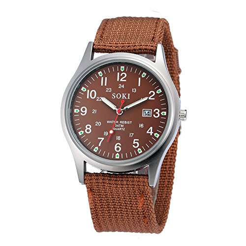 Military Watch,Men Analog Watches Army Filed Tactical Sport Wrist Watches Canvas Strap Calendar Date (Coffee ()