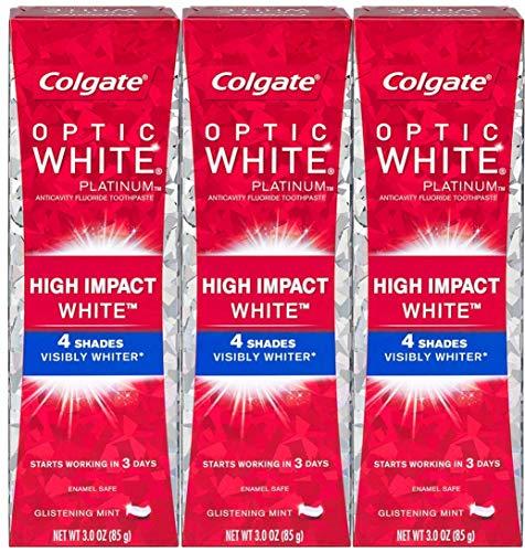Colgate Optic White High Impact White Whitening Toothpaste, 3 oz, 3Count