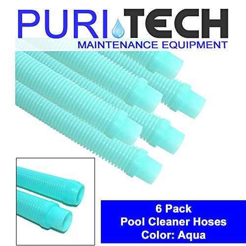 "Puri Tech 6 Pack Universal Pool Cleaner Hose 48"" Long Aqua Color for Kreepy Krauly, Baracuda G3, G4"