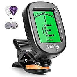 Souidmy Guitar Tuner, with 9 Tuning Modes, for Guitar, Bass, Violin, Ukulele and Chromatic, Easy to Use, Portable Clip…