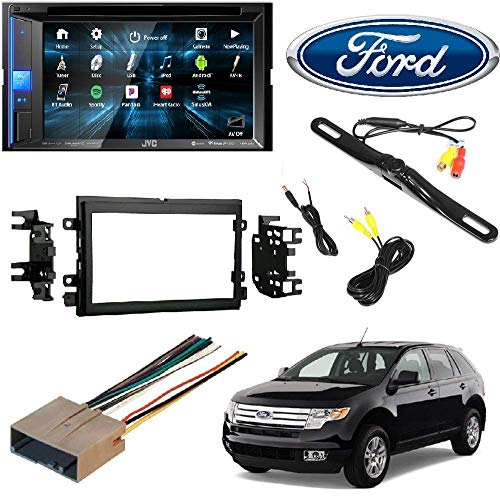 JVC KW-V25BT Double Din BT in-Dash DVD/CD/AM/FM Stereo + Double DIN Stereo Install Dash KIT W/Wire Harness for Ford Lincoln Mercury Cars + Rear View Camera