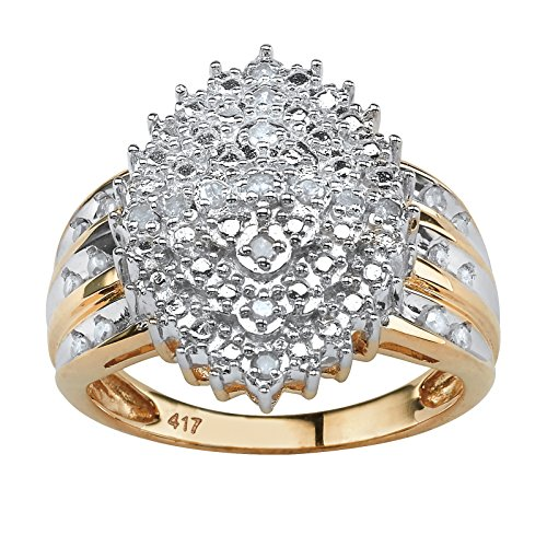 Round Diamond Marquise-Shaped Cluster Ring in 10k Yellow Gold (.35 cttw, HI Color, I3 Clarity) Size 9