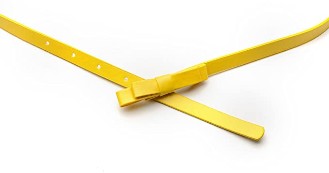 c44a9691737 Oh La Belle Cravate ceinture fine jaune simili cuir noeud femme ...