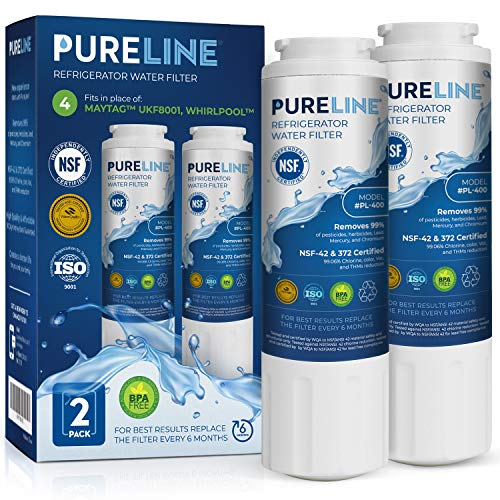 PURELINE NSF & WQA Certified UKF8001 Refrigerator Water Filter, Replacement for Maytag UKF8001P, Whirlpool EDR4RXD1, EveryDrop Filter 4, PUR 4396395 Puriclean II, UKF8001AXX-200, 469006 (Pack of 2) (Ukf8001 Pur Maytag Filter Water)