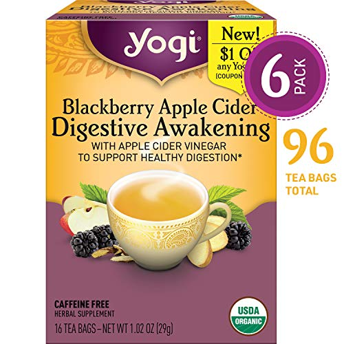 - Yogi Tea - Blackberry Apple Cider Digestive Awakening - With Apple Cider Vinegar to Support Healthy Digestion - 6 Pack, 96 Tea Bags Total
